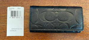 NWT Coach Trifold 4-Ring Leather Keyholder Black Key Wallet Keychain Case New