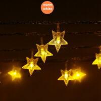 1x LED Sternen Lichterkette Warmweiß Weihnachtsbeleuchtung Vorhang Deko LP