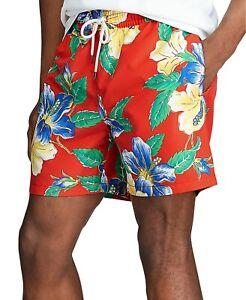 "Polo Ralph Lauren 5.5"" Traveler Swim Trunk Mens XL Red Floral w/Pony"