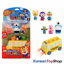 Pororo Mini School Kindergarten Bus & 6 pcs Figures Toy Set Sound LED Effect