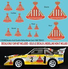 1/18 Audi Quattro S1 Rally Monte Carlo 1986 HB Decals X Autoart TB Decal TBD431