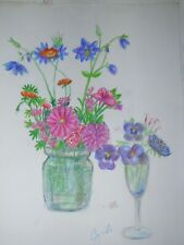 colored pencil drawing flowers