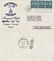 US 1948 NORTHWEST AIRLINES FIRST FLIGHT FLOWN COVER WASHINGTON TO MINNEAPOLIS