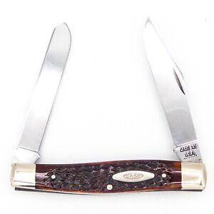 1972 8 Dot CASE XX USA Pocket Knife 6275 SP MOOSE / J-KNIFE Bone MINT