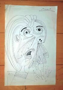 PABLO PICASSO  -PORTRAIT-  SIGNED INK ON PAPER DRAWING