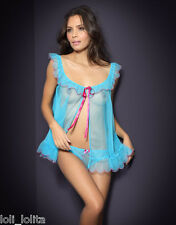 AGENT PROVOCATEUR SEXY LORNA BABYDOLL TURQUOISE BLUE SIZE 2 SMALL & GIFT BOX NWT