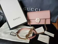 New $1350 GUCCI Interlocking GG Wallet On Chain Crossbody Bag Clutch pink AUTHEN