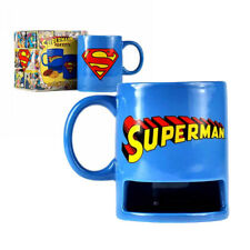 Official Licensed Superman Logo Mug with Cookie Holder New