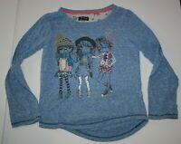 USED Next UK 8 Year Girls Top Long Sleeves Best Friends Front & Back Applique