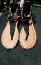 Minnetonka Black Beaded Leather Sandals SZ 7 NOWB