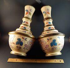 "Pair Large Antique Handpainted Bristol Bohemian Glass Vases Signed TR 12"""