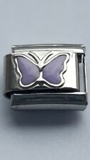 Purple BUTTERFLY Insect 9mm Italian Charm Fits Classic Bracelet Link