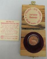 ISRAEL 1982 HOLY LAND SITES QUMRAN PROOF COIN 1/4oz GOLD +OLIVE WOOD BOX +COA
