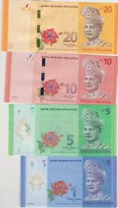 FOUR MALAYSIA 1,5, 10 & 20 RINGGIT COMMEMORATIVE BANKNOTES IN MINT CONDITION
