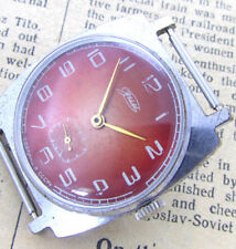 ZIM POBEDA RED SKARLET SQUARE Vintage 70s Soviet Russian Mechanical Wrist Watch