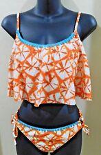 Hobie Wmn's Bikini Swimsuit Size XL Top & LG Bottom Tie Dye Orange Hippie Boho