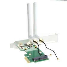 Wireless Wifi Network Card Mini PCI-E To PCI-E 1X Desktop Adapter + 2 Antennas f