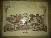 """VINTAGE 1975 Illinois """"LAND OF LINCOLN"""" MARBLE ETCHING by D. BIVENS Large Tile"""