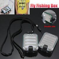 Double side Waterproof Fly Fishing Box Foam insert with lanyard Hold 136