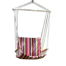 Rainbow Deluxe Red Hammock Rope Chair Patio Porch Tree Hanging Air Swing Outdoor