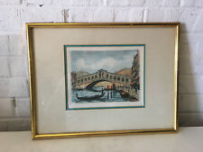 Vintage Signed Etching Print Venice Canal Rialto Bridge