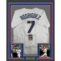 FRAMED Autographed/Signed IVAN RODRIGUEZ PUDGE 33x42 Texas White Jersey JSA COA