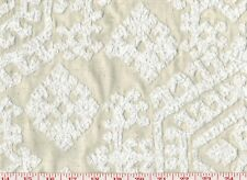 Embroidered White on Beige Braemore Drapery Upholstery Fabric Byzas CL Sunglow
