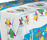Tropical Fish Table Cover / Plastic Tablecloth Table Cover / Cloth 137cm x 274cm