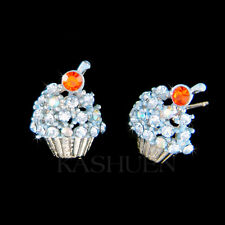 w Swarovski Crystal ~Blueberry Cupcake~ Baker Baking Food Lover Dessert Earrings