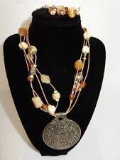 Medallion, Gemstone & Carved Bovine Bone Bead Necklace & Dangle Earrings