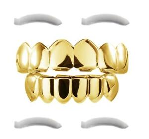 24K Plated Gold Grillz for Mouth Top Bottom Hip Hop Teeth Grills For Teeth Mouth