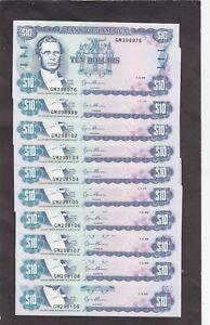 Jamaica 10 Dollars 1994 P-71e AU/UNC  x 10