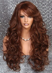 Human Hair Blend Wig Heat OK Curly Long Auburn mix Bangs Layered 30-27 WBBT