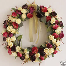 ULAND 14in Handmade Artificial Rose Door Wreath Silk Floral Home Decor 1PC