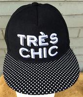 Tres Chic Charlotte Russe Polka Dot Brim Snapback Baseball Cap Hat Glamour