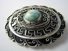 STERLING SILVER PENDANT BROOCH PIN TURQUOISE FILIGREE Palestine Middle East ****