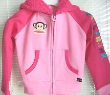 PAUL FRANK Hoodie Jacket Pink Full Zipper Front Ho0ded Fleece $44 Girls Sz 5