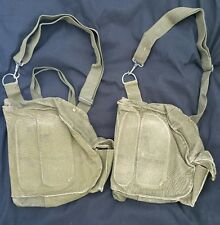 Vintage U.S. Army Protective Field M17 Gas Mask Green Canvas Bags