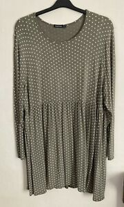 Boohoo Size 16 Khaki Spotted Loose Dress -(C014)