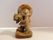 """Anri Sarah Kay Hand Carved Wood Figurine Titled """"Honey Bunch"""" 3"""" Made In Italy"""