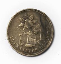 1887 Mo M Mexico Second Rep 25 Twenty Centavos Silver Coin KM# 406.7 Low Mintage