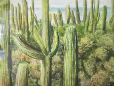 "Original Oil Pastel Colorado artist RICHARD WINSHIP ""Cactus Conspiracies"" Framed"