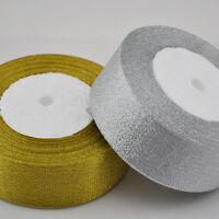 2'' (50 mm) Gold and Silver Metallic Glitter ribbon craft/wedding 25Y