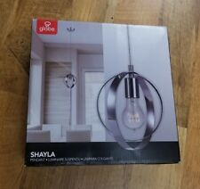 Pair of Shayla 1-Light Pendant, Chrome Finish, Clear Cord, Double Circle Design