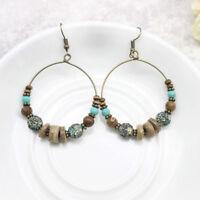 Boho Bohemian Earrings Tribal Bronze Hoop Earrings Turquoise Wooden Beads QQQ
