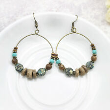 Vintage Bohemian Earrings Bronze Hoop Dangle Earrings Turquoise Wood DIY Beads