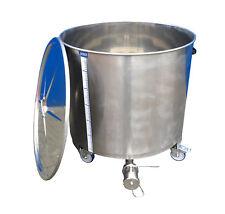 Edelstahlbehälter 331 Liter auf Rollen mit Deckel Behälter Tank Edelstahl Kessel