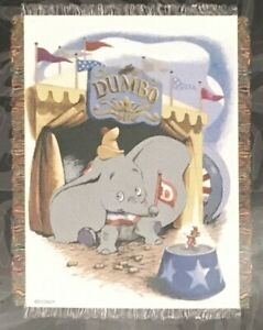 """Disney Dumbo Woven Tapestry Throw 48""""x60"""" 100% Polyester NEW"""
