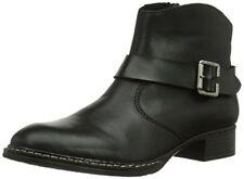 RIEKER 73454-01 LADIES Black Buckle Detail Zipper Ankle Boots, UK 4, EUR 37