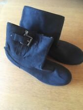 F&F Ladies Ankle Boot In Black Textile Finish Size 7